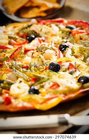 Homemade and healthy vegetables pizza. - stock photo