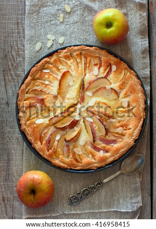 Homemade apple cake with almond and cinnamon over natural wood background, top view