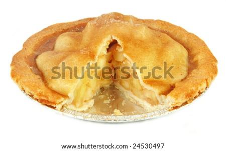 Homemade apple pie fresh from the oven on white bakcground. - stock photo