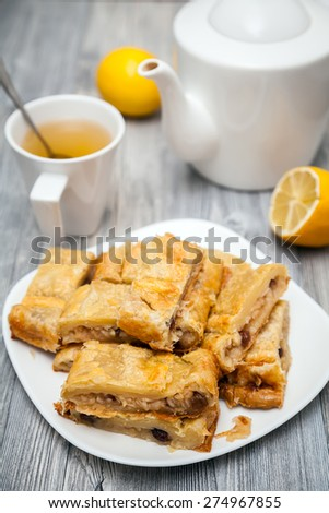 homemade apple pie made of flaky pastry - stock photo