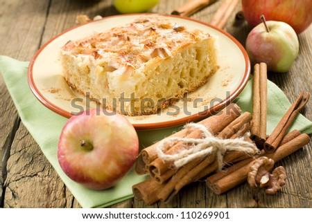 Homemade apple pie with cinnamon - stock photo