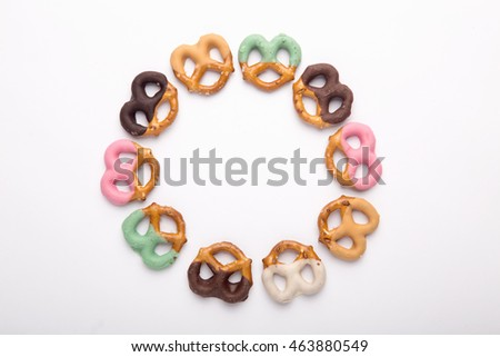 Homemade assorted mini pretzels on an isolated background