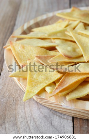 Homemade  baked Mexican chips nachos - non-fried - stock photo