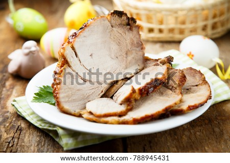 Homemade baked pork or glazed ham