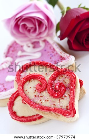 Homemade baked shortbread Valentine cookies with roses