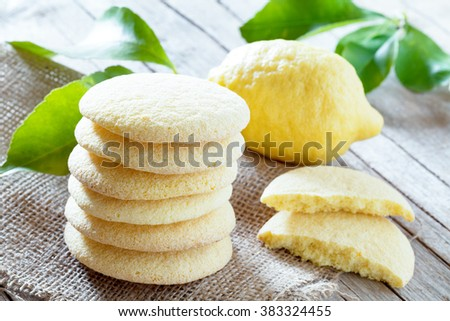Homemade bakery products: stack of shortbread cookies with lemon flavor.