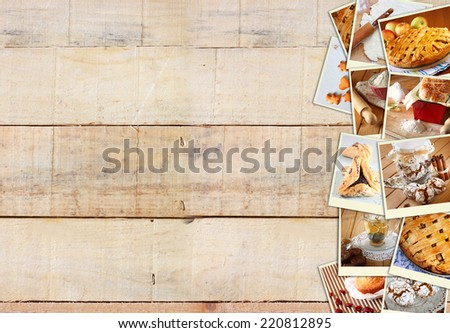 Homemade baking collage with cookies, fresh bread, apple pie and muffins over wooden background. - stock photo