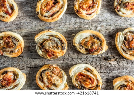 Homemade baking concept - french pastry rolls snacks, flat lay from above - stock photo