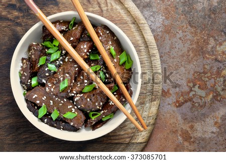 Homemade beef cooked in a traditional asian style - stock photo