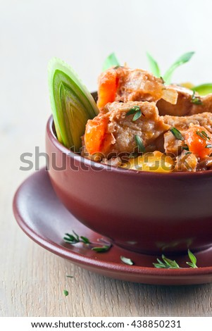 Homemade beef stew with carrots and potatoes - stock photo