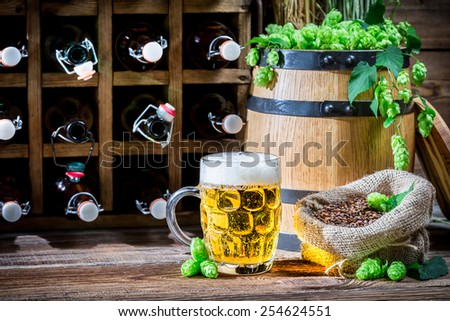 Homemade beer stored in the cellar - stock photo