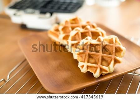 Homemade Belgian waffles - stock photo