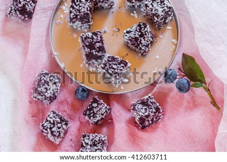 homemade berry gelatin dessert - stock photo
