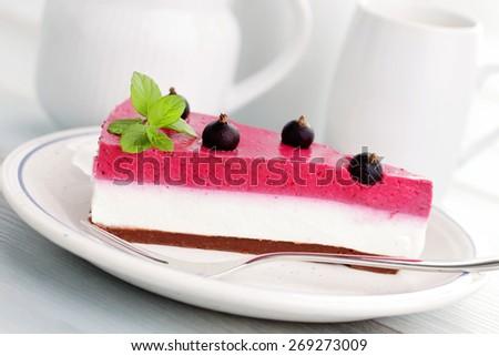 homemade blackberry cheesecake - sweet food - stock photo