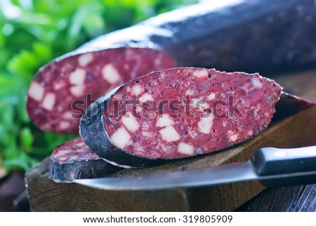 homemade blood sausage - stock photo