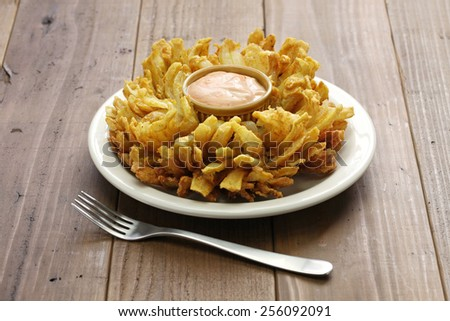homemade blooming onion, american food - stock photo
