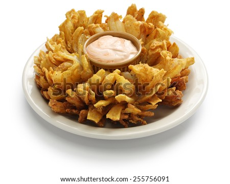 homemade blooming onion isolated on white background, american food - stock photo