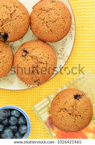 Homemade blueberry bran muffins overhead view and shot in natural light