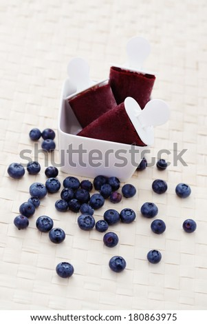homemade blueberry ice cream with fresh fruits - sweet food