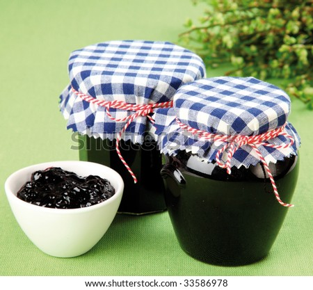 Homemade blueberry jam - stock photo