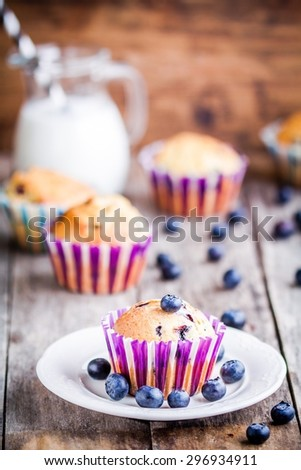 homemade blueberry muffin with milk on a rustic wooden background - stock photo