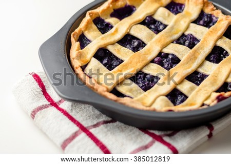 Homemade blueberry pie cooling off in a baking pan. - stock photo