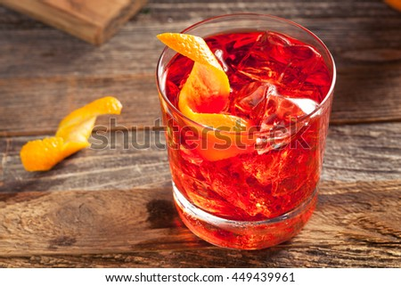 Homemade Boozy Negroni Cocktail with and Orange Twist