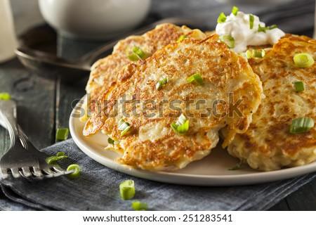 Homemade Boxty Irish Potato Pancakes for Breakfast - stock photo