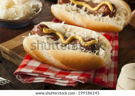 Homemade Bratwurst with Sauerkraut and Mustard - stock photo