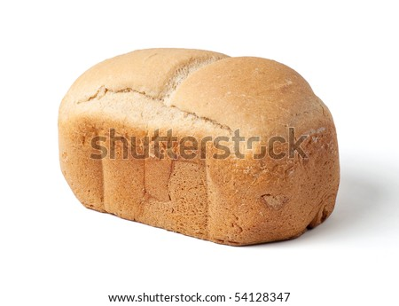 Homemade bread loaf isolated on white background