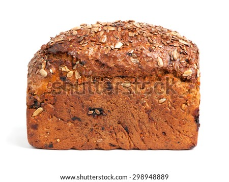 Homemade brown bread with cereals isolated over white - stock photo