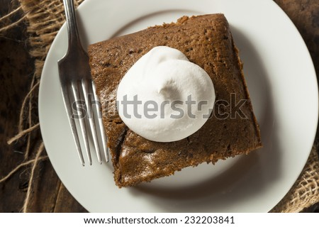Homemade Brown Gingerbread Cake with Whipped Cream - stock photo