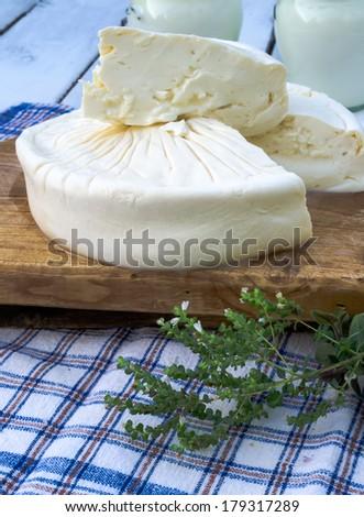 Homemade bulgarian white brined cheese - stock photo
