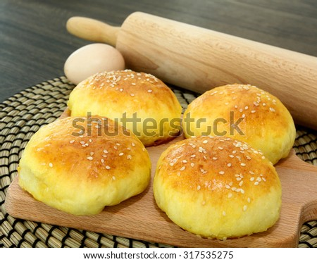 Homemade buns with cabbage - stock photo