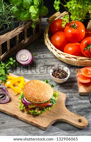 Homemade burger made �¢??�¢??from vegetables and meat