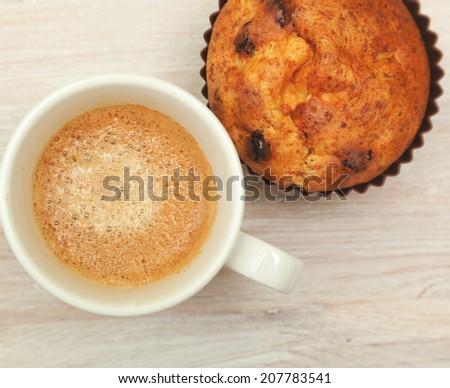 homemade cake and a mug of coffee - stock photo