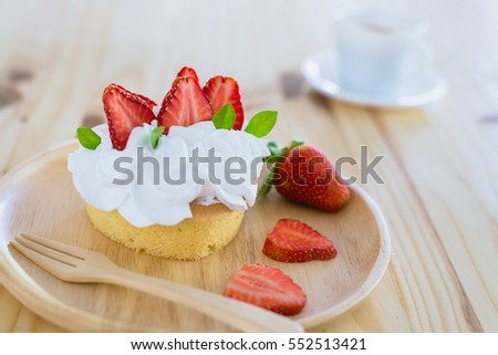 Homemade cake, fresh,  and delicious dessert with juicy strawberries, sweet whipped cream