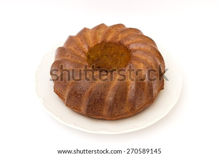 homemade cake on a white background - stock photo