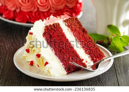 "Homemade cake ""Red Velvet"" decorated with cream. - stock photo"