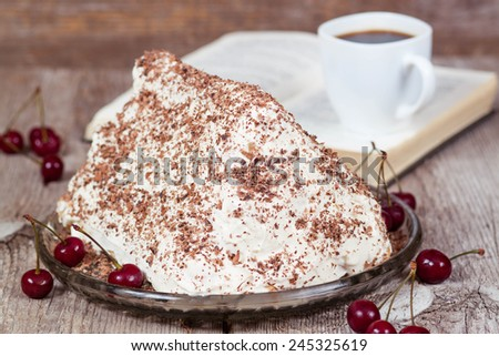 Homemade cake with cherries and sour cream - stock photo