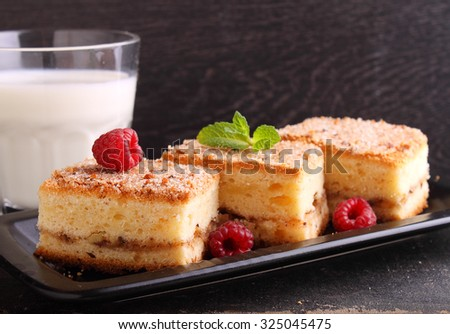 homemade cake with walnuts, cinnamon and sugar on a dark background - stock photo
