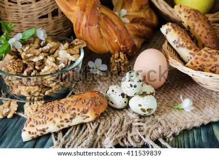 homemade cakes and ingredients - stock photo