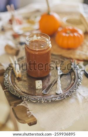 Homemade caramel sauce - stock photo