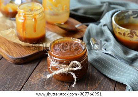 Homemade Caramel Sauce; Salted Caramel, selective focus, horizontal - stock photo