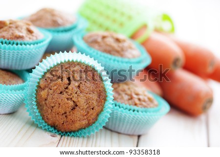 homemade carrot muffins with walnut and cinnamon - sweet food - stock photo