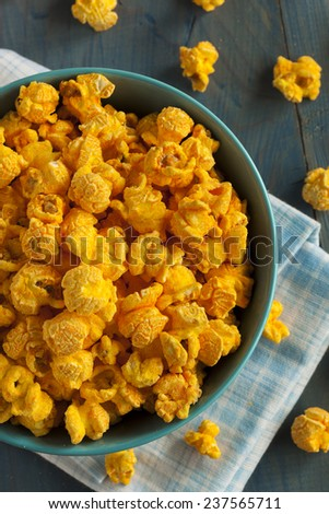Homemade Cheddar Cheese Popcorn in a Bowl - stock photo