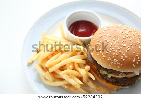 Homemade Cheese Burger with French Fried - stock photo