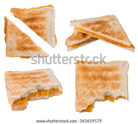 Homemade Cheese Sandwich isolated on white background (selective focus) - stock photo