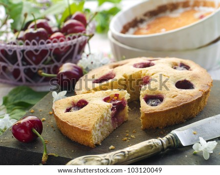 Homemade cherry pie on wooden board, selective focus - stock photo
