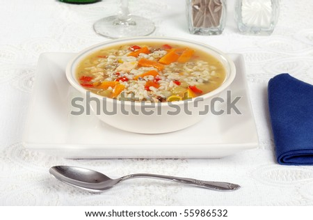 homemade chicken and wild rice soup - stock photo